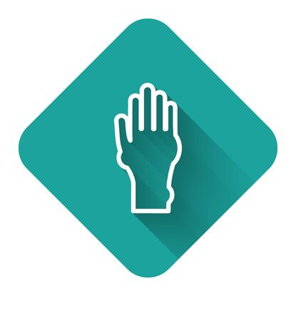 White line Hand with psoriasis or eczema icon isolated with long shadow. Concept of human skin response to allergen or chronic body problem. Green square button. Vector Illustration Illusztráció
