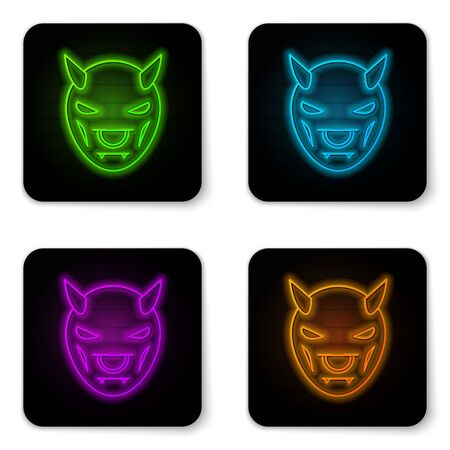 Glowing neon line Mask of the devil with horns icon isolated on white background. Black square button. Vector Illustration Иллюстрация