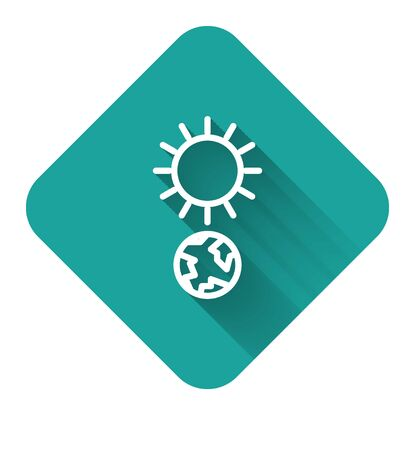 White line Solstice icon isolated with long shadow. Green square button. Vector Illustration Stock Illustratie
