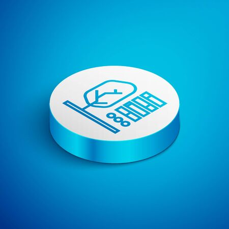 Isometric line Plant status icon isolated on blue background. White circle button. Vector Illustration
