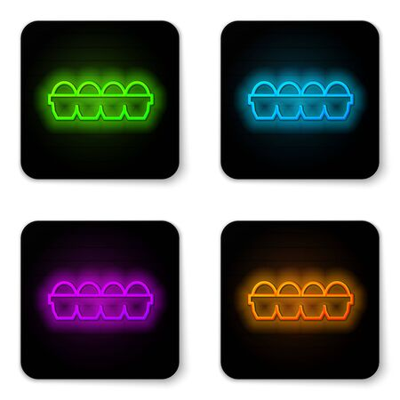 Glowing neon line Chicken egg in box icon isolated on white background. Black square button. Vector Illustration