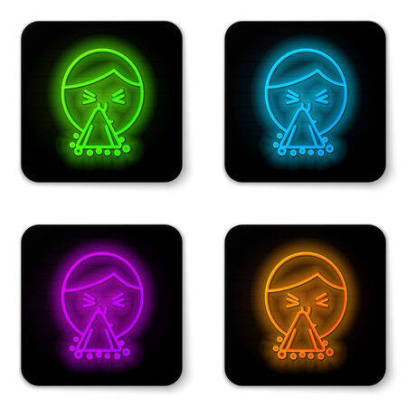 Glowing neon line Man holding handkerchief or napkin to his runny nose icon isolated on white background. Coryza desease symptoms. Black square button. Vector Illustration