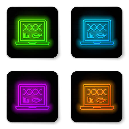 Glowing neon line Genetic engineering modification on laptop icon isolated on white background. DNA analysis, genetics testing, cloning. Black square button. Vector Illustration