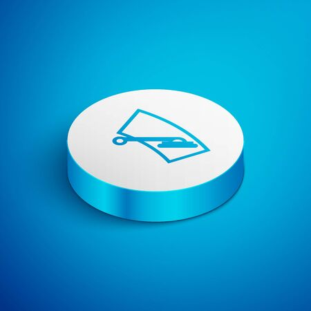 Isometric line Windscreen wiper icon isolated on blue background. White circle button. Vector Illustration