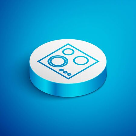 Isometric line Gas stove icon isolated on blue background. Cooktop sign. Hob with four circle burners. White circle button. Vector Illustration