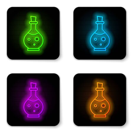 Glowing neon line Glass bottle with magic elixir icon isolated on white background. Computer game asset. Black square button. Vector Illustration