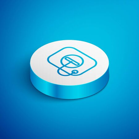 Isometric line Oil filler cap opening at the gas station icon isolated on blue background. White circle button. Vector Illustration