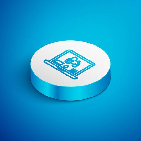 Isometric line Laptop application for control a autonomous tractor on a smart farm icon isolated on blue background. Smart agriculture implement. White circle button. Vector Illustration