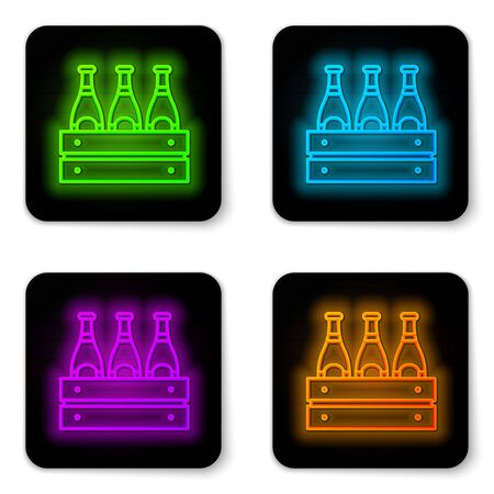Glowing neon line Pack of beer bottles icon isolated on white background. Wooden box and beer bottles. Case crate beer box sign. Black square button. Vector Illustration Illustration