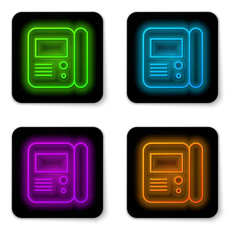 Glowing neon line House intercom system icon isolated on white background. Black square button. Vector Illustration