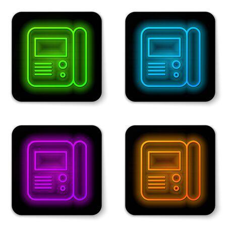 Icono de sistema de intercomunicación de casa de línea de neón brillante aislado sobre fondo blanco. Botón cuadrado negro. Ilustración vectorial