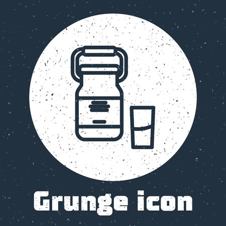 Grunge line Can container for milk and glass icon isolated on grey background. Monochrome vintage drawing. Vector Illustration Illustration