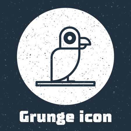 Grunge line Pirate parrot icon isolated on grey background. Monochrome vintage drawing. Vector Illustration