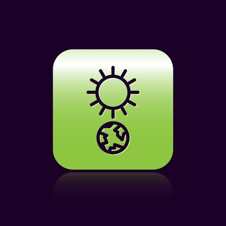 Black line Solstice icon isolated on black background. Green square button. Vector Illustration