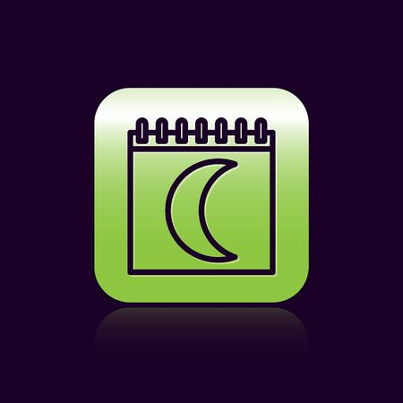 Black line Moon phases calendar icon isolated on black background. Green square button. Vector Illustration