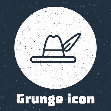 Grunge line Oktoberfest hat icon isolated on grey background. Hunter hat with feather. German hat. Monochrome vintage drawing. Vector Illustration