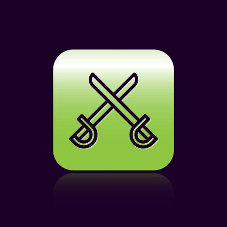 Black line Crossed pirate swords icon isolated on black background. Sabre sign. Green square button. Vector Illustration