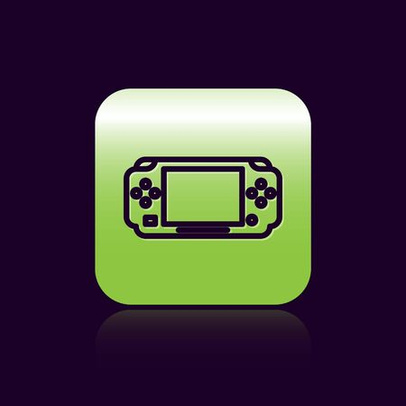 Black line Portable video game console icon isolated on black background. Gamepad sign. Gaming concept. Green square button. Vector Illustration