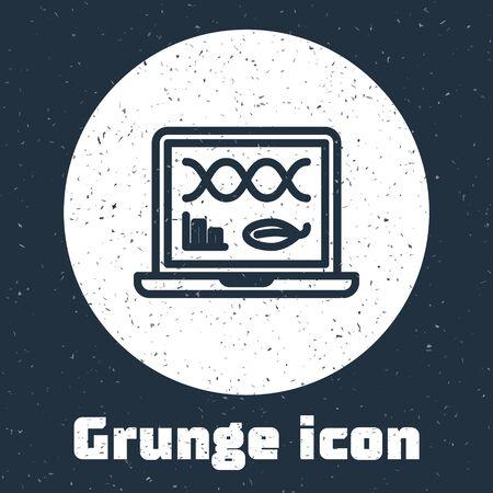 Grunge line Genetic engineering modification on laptop icon isolated on grey background. DNA analysis, genetics testing, cloning. Monochrome vintage drawing. Vector Illustration Illusztráció