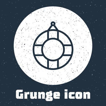Grunge line Lifebuoy icon isolated on grey background. Lifebelt symbol. Monochrome vintage drawing. Vector Illustration