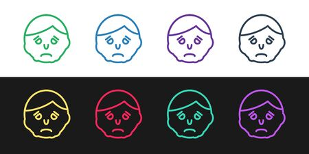 Set line Inflammation on face icon isolated on black and white background. Vector Illustration