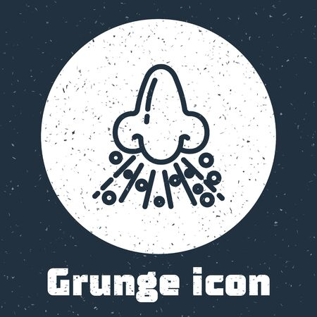 Grunge line Runny nose icon isolated on grey background. Rhinitis symptoms, treatment. Nose and sneezing. Nasal diseases. Monochrome vintage drawing. Vector Illustration