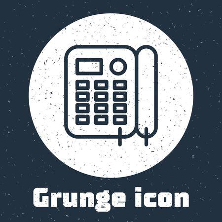 Grunge line Telephone icon isolated on grey background. Landline phone. Monochrome vintage drawing. Vector Illustration Foto de archivo - 136669062