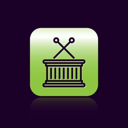 Black line Musical instrument drum and drum sticks icon isolated on black background. Green square button. Vector Illustration