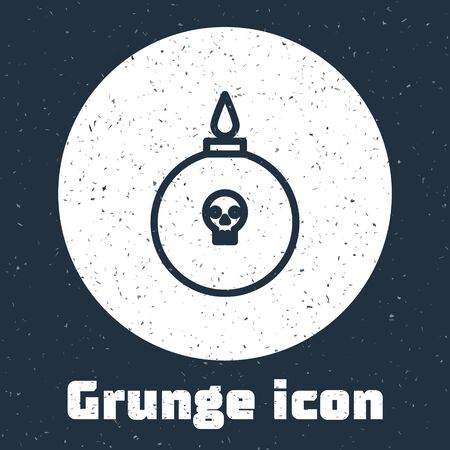 Grunge line Bomb ready to explode icon isolated on grey background. Monochrome vintage drawing. Vector Illustration Vettoriali
