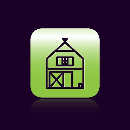 Black line Farm House concept icon isolated on black background. Rustic farm landscape. Green square button. Vector Illustration Stock Illustratie