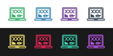 Set line Genetic engineering modification on laptop icon isolated on black and white background. DNA analysis, genetics testing, cloning. Vector Illustration