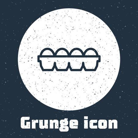 Grunge line Chicken egg in box icon isolated on grey background. Monochrome vintage drawing. Vector Illustration Ilustração