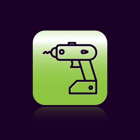 Black line Electric cordless screwdriver icon isolated on black background. Electric drill machine. Repair tool. Green square button. Vector Illustration