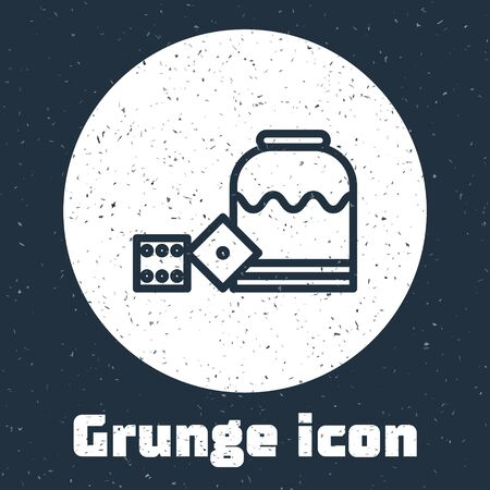 Grunge line Pirate game dice icon isolated on grey background. Casino gambling. Monochrome vintage drawing. Vector Illustration Иллюстрация