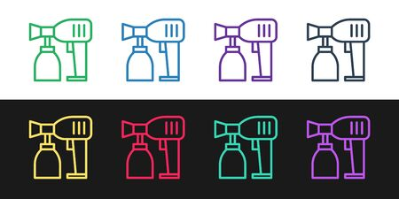 Set line Paint spray gun icon isolated on black and white background. Vector Illustration