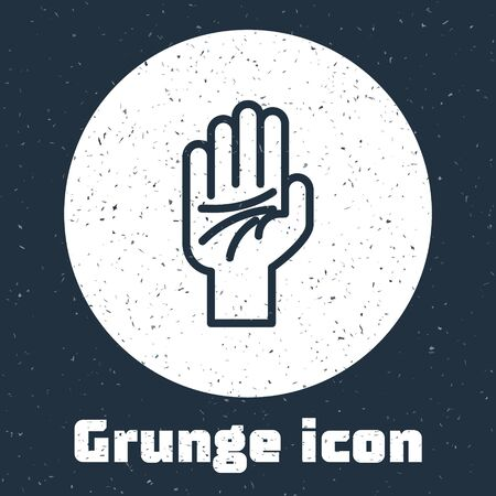 Grunge line Palmistry of the hand icon isolated on grey background. Monochrome vintage drawing. Vector Illustration