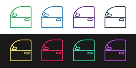 Set line Car door icon isolated on black and white background. Vector Illustration