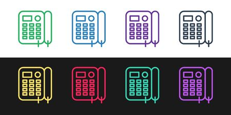 Set line Telephone icon isolated on black and white background. Landline phone. Vector Illustration Foto de archivo - 136669193