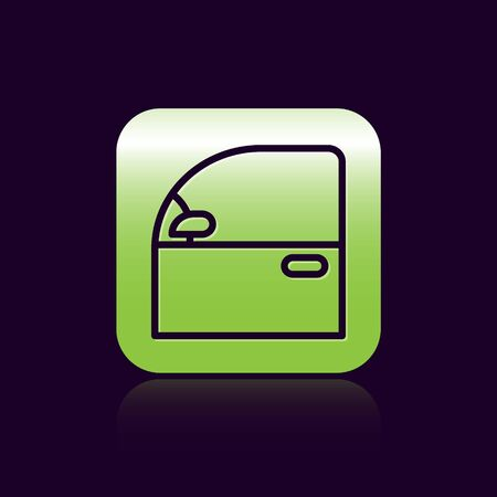 Black line Car door icon isolated on black background. Green square button. Vector Illustration