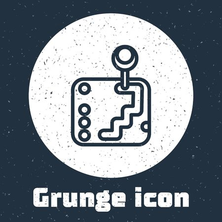 Grunge line Gear shifter icon isolated on grey background. Transmission icon. Monochrome vintage drawing. Vector Illustration Illustration