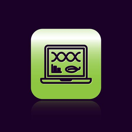 Black line Genetic engineering modification on laptop icon isolated on black background. DNA analysis, genetics testing, cloning. Green square button. Vector Illustration