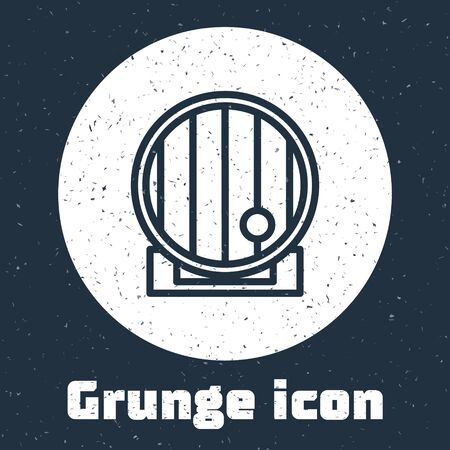 Grunge line Wooden barrel icon isolated on grey background. Alcohol barrel, drink container, wooden keg for beer, whiskey, wine. Monochrome vintage drawing. Vector Illustration