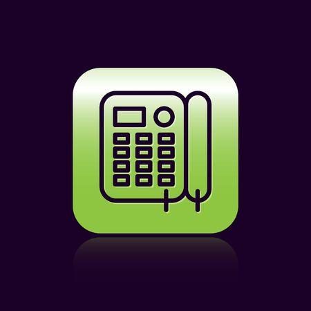 Black line Telephone icon isolated on black background. Landline phone. Green square button. Vector Illustration Foto de archivo - 136669525