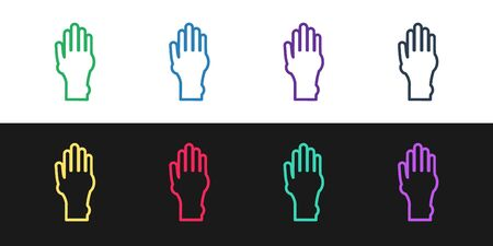 Set line Hand with psoriasis or eczema icon isolated on black and white background. Concept of human skin response to allergen or chronic body problem. Vector Illustration