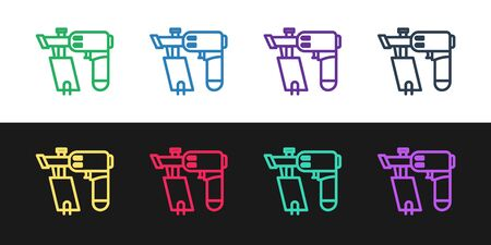Set line Nail gun icon isolated on black and white background. Vector Illustration