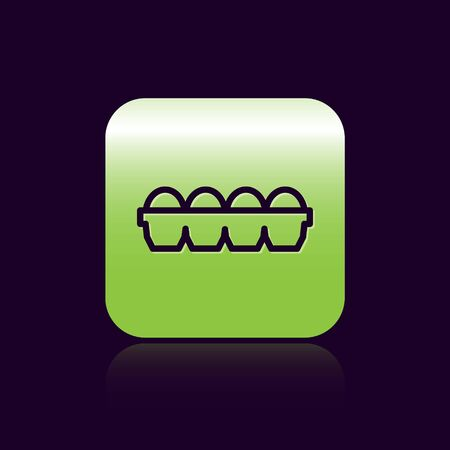 Black line Chicken egg in box icon isolated on black background. Green square button. Vector Illustration