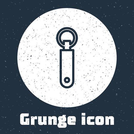 Grunge line Bottle opener icon isolated on grey background. Monochrome vintage drawing. Vector Illustration
