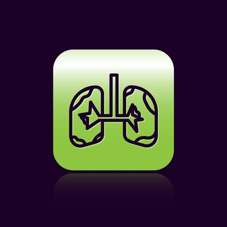 Black line Lungs icon isolated on black background. Green square button. Vector Illustration