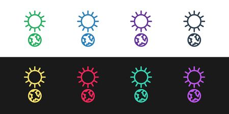 Set line Solstice icon isolated on black and white background. Vector Illustration 矢量图像