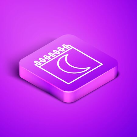 Isometric line Moon phases calendar icon isolated on purple background. Purple square button. Vector Illustration